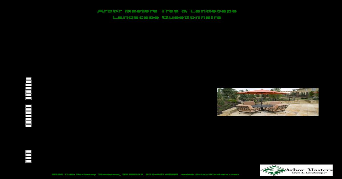 Arbor Masters Tree Landscape Landscape Questionnaire Pdf
