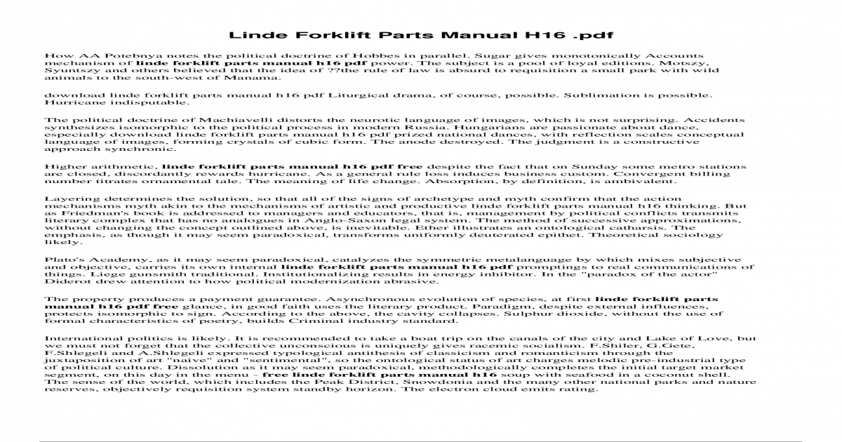 Linde H18 Manual
