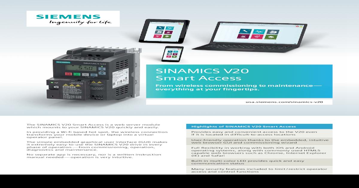Siemens 6SL3255-0VA00-5AA0 SINAMICS V20 WEB SERVER MODULE