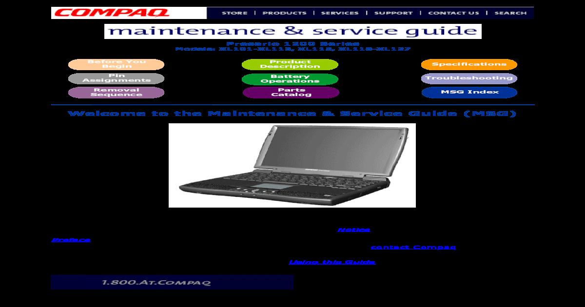 Service Manual Compaq Presario 1200xl101 127