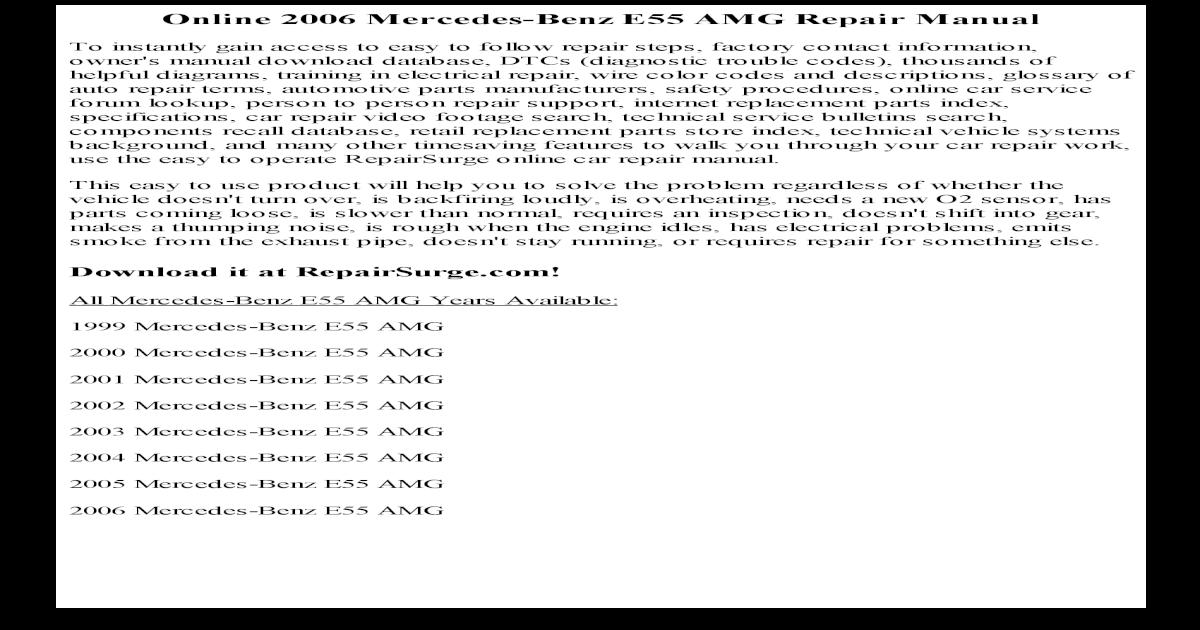 2002 Mercedes Benz E55 Amg Service Repair Manual Software