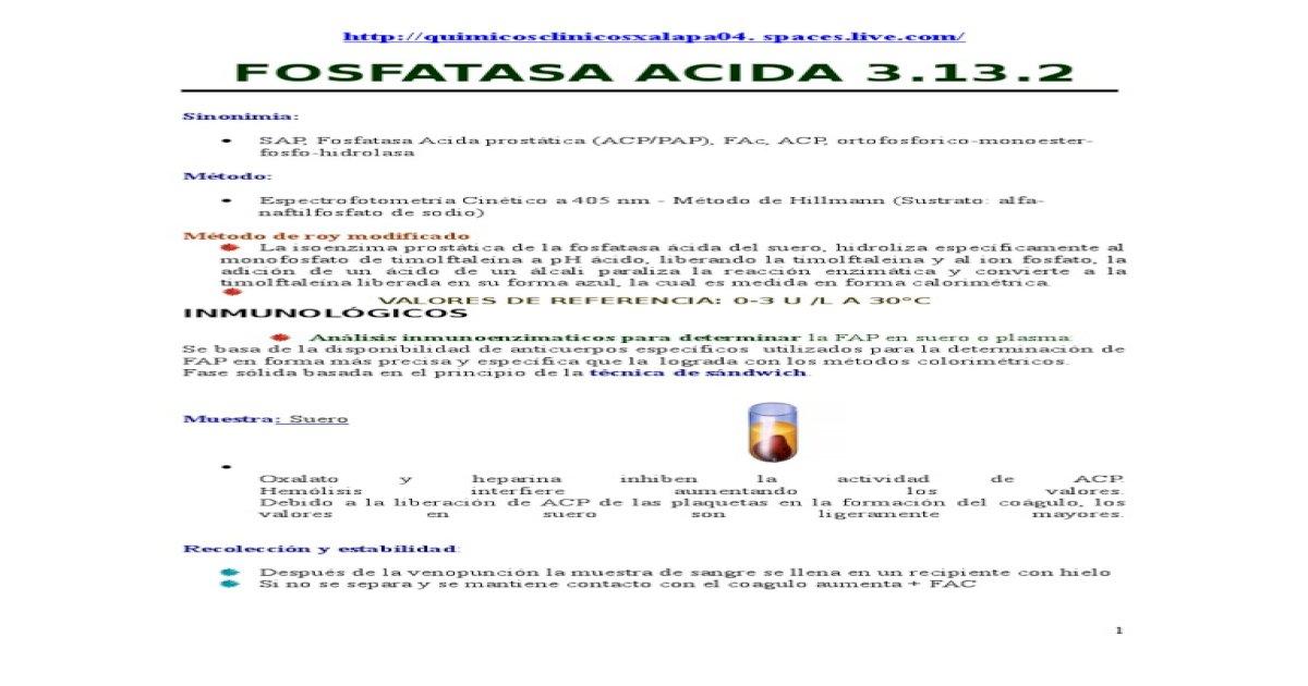 pruebas de laboratorio en fosfatasa ácida prostática
