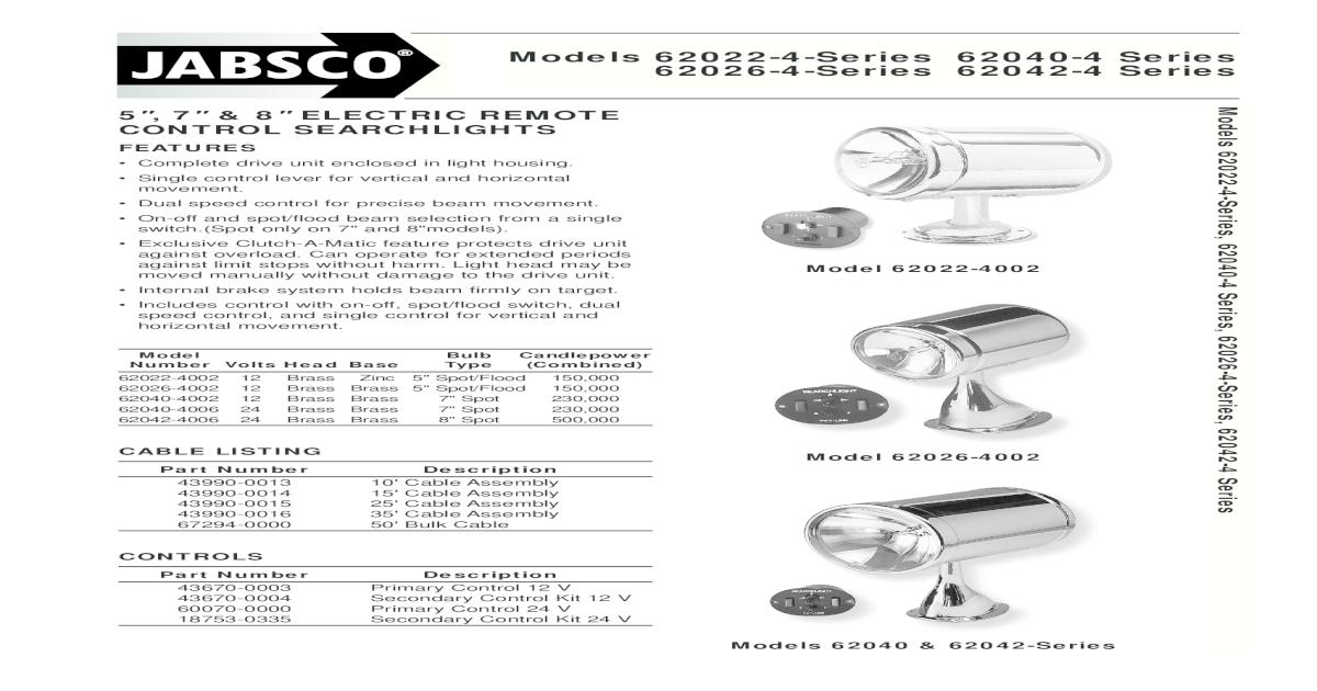 Itt Jabsco Searchlight Wiring Diagram