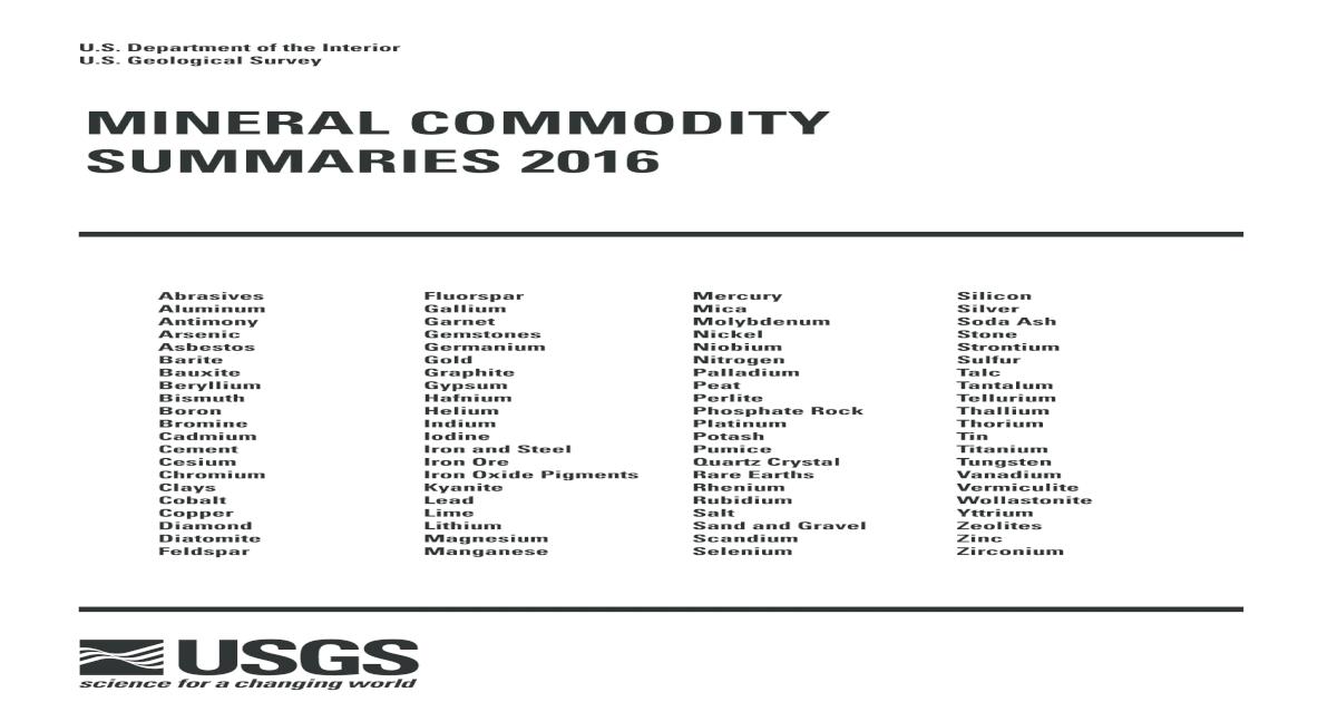 151 Quantum Rare Earth Developments Corp Reports Significant Update To Resource Estimate At The Elk Creek Niobium Deposit Nebraska >> Mineral Commodity Summaries 2016 Pdf Document