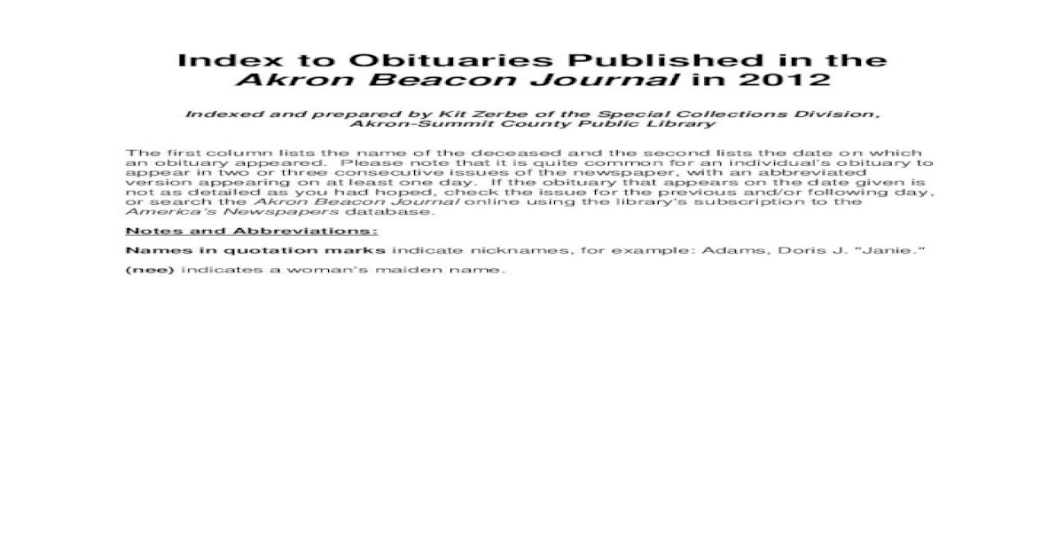 Index To Obituaries Published In The Alexie Ruth Irene