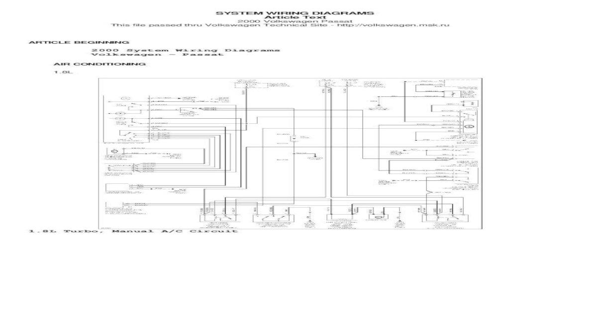 Volkswagen Passat 2000 System Wiring .2000 System Wiring