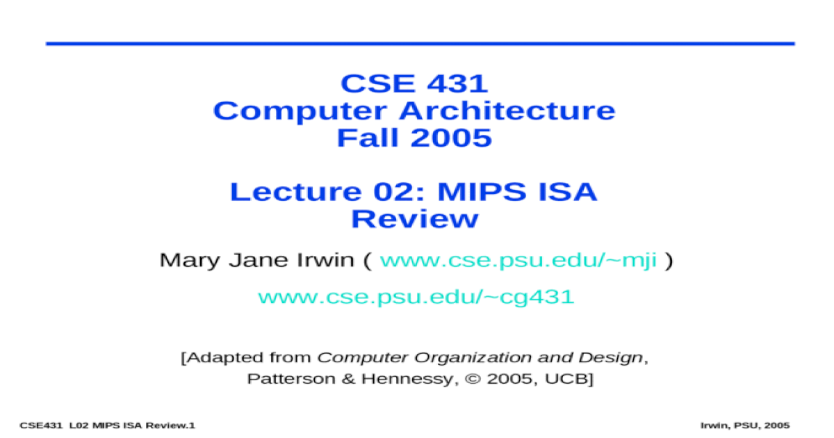 Cse 431 Computer Architecture Ppt Powerpoint