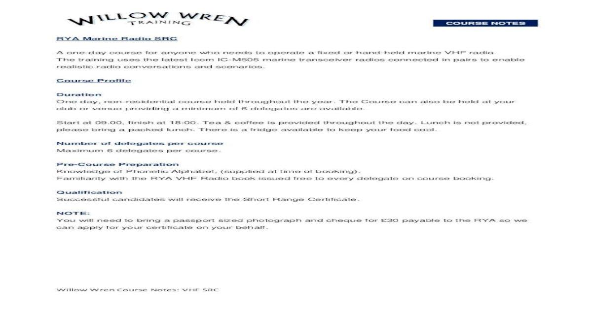 Rya Marine Radio Src Vhf Src Pdf Willow Wren Course Notes Vhf Src Course Notes Rya Marine Radio Pdf Document
