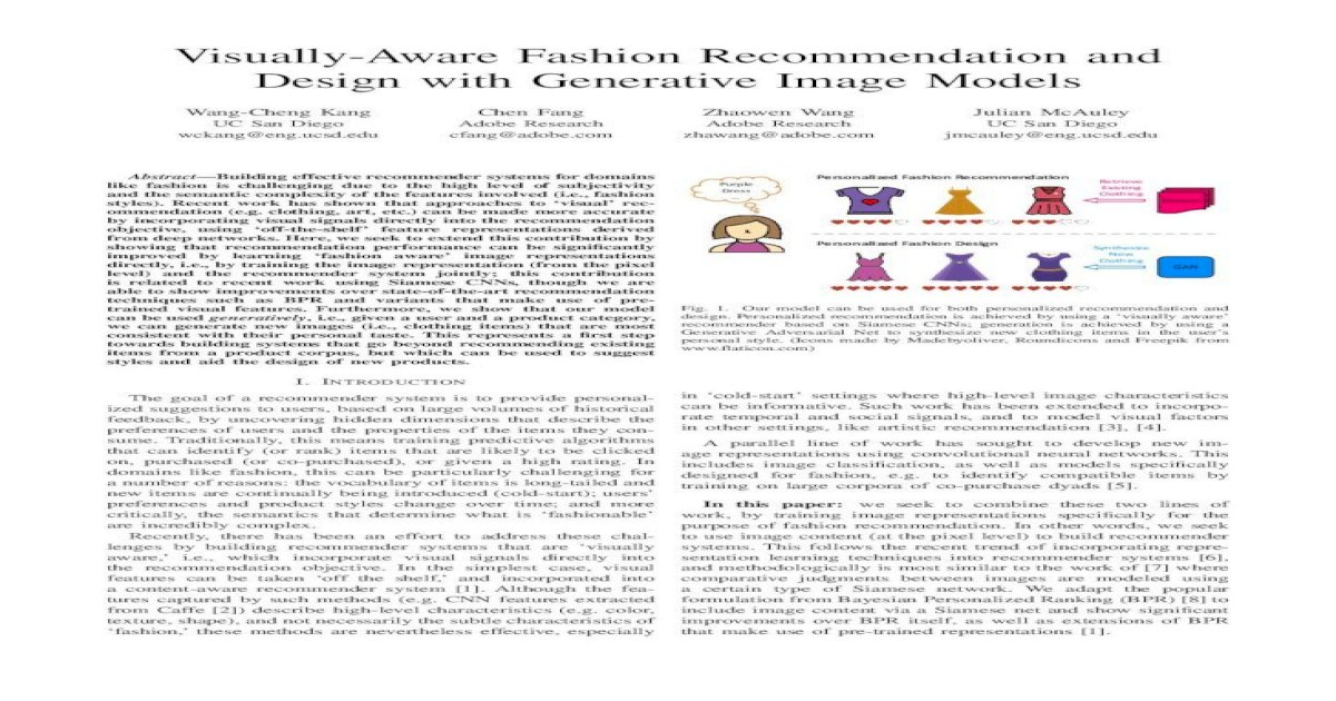 Visually Aware Fashion Recommendation And Design Jmcauley Pdfs Icdm17 Pdf Visually Aware Fashion Pdf Document