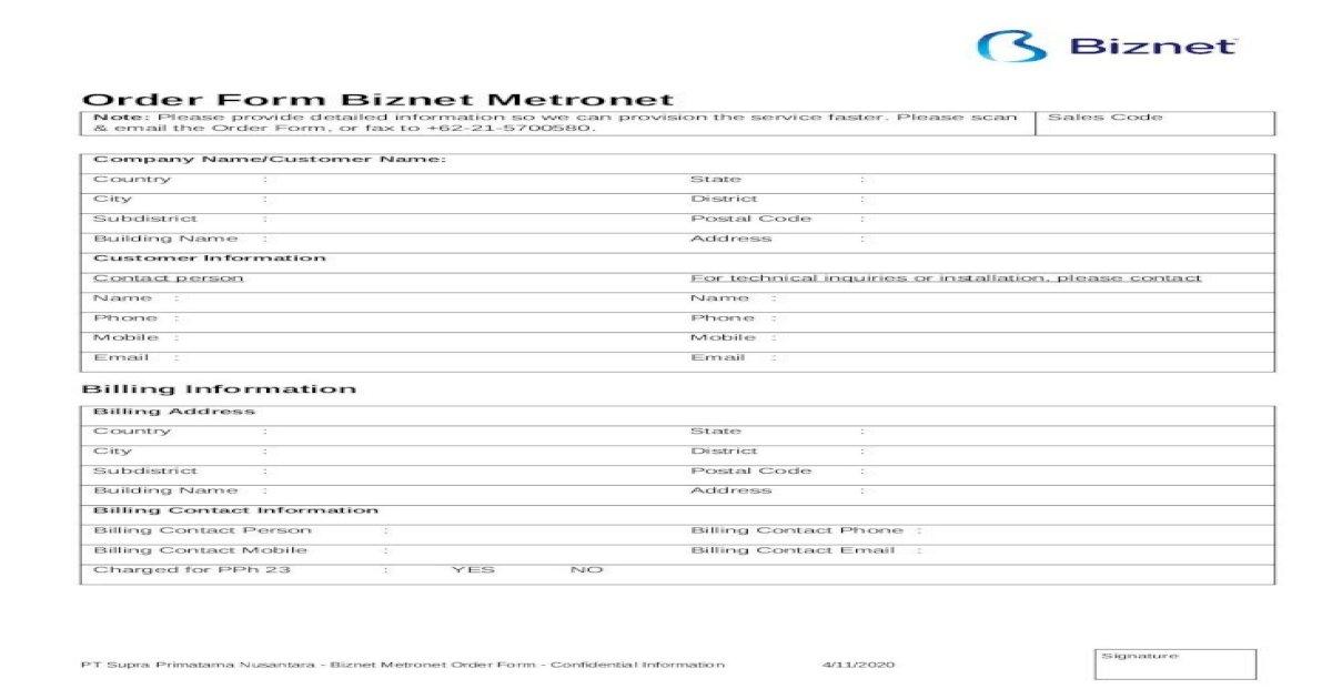 Order Form Biznet Metronet Gpon Java Bali Batam Form Web Viewwhat Internet Provider That Docx Document