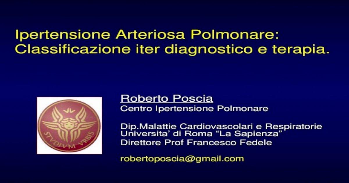Ipertensione Arteriosa Polmonare: Classificazione iter..