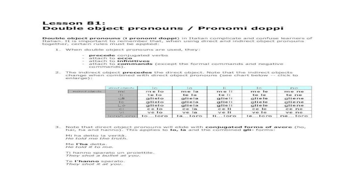Lesson 81: Double object pronouns / Pronomi .Lesson 81 ...