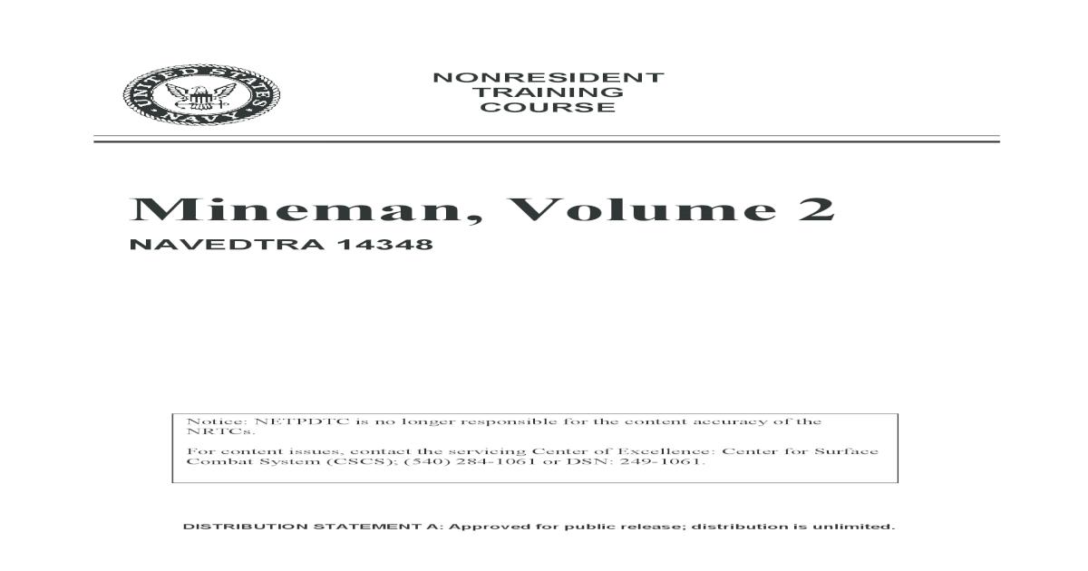 Mineman Volume 2 Navy Bmr Navy Wide Material 14348