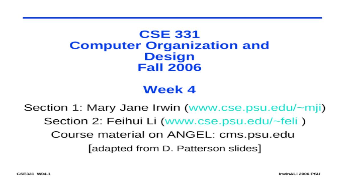 Cse 331 Computer Organization And Design Fall 2006 Week 4 Ppt Powerpoint