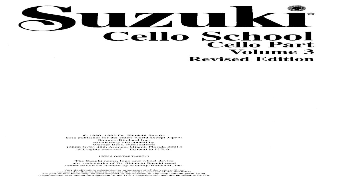 Suzuki Cello School Vol. 3 (Cello Part & Piano