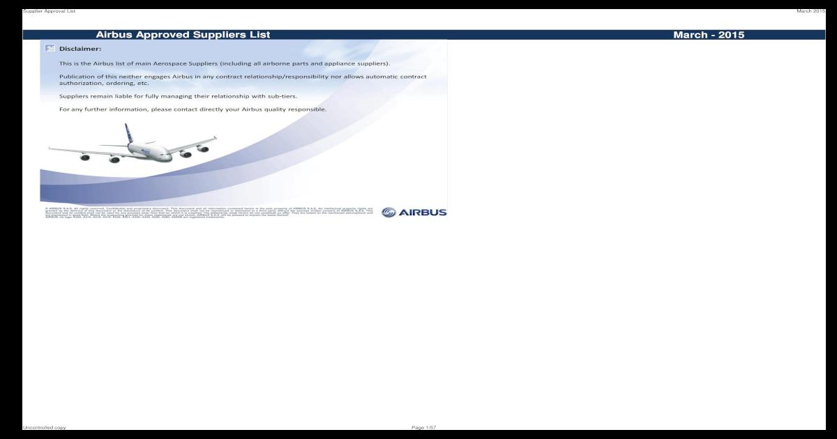 Stupendous Airbus Suppliersapprovallist March2015 Pdf Document Alphanode Cool Chair Designs And Ideas Alphanodeonline
